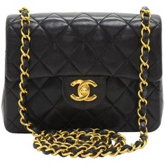 "Chanel 7"" Black Quilted Mini Flap Shoulder Bag"