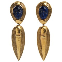Guy Laroche Paris Signed Clip-on Earrings Dangling Carved Lapis Glass Stone