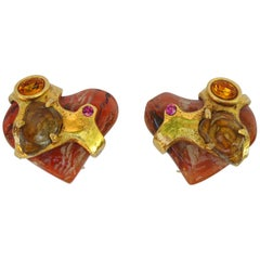 Christian Lacroix Paris clip on Earrings Baroque Resin Heart with Rhinestones