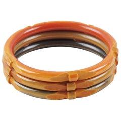 Bakelite Bracelet Bangle Spacer Deep Carved Washed Orange Color set 3 pieces