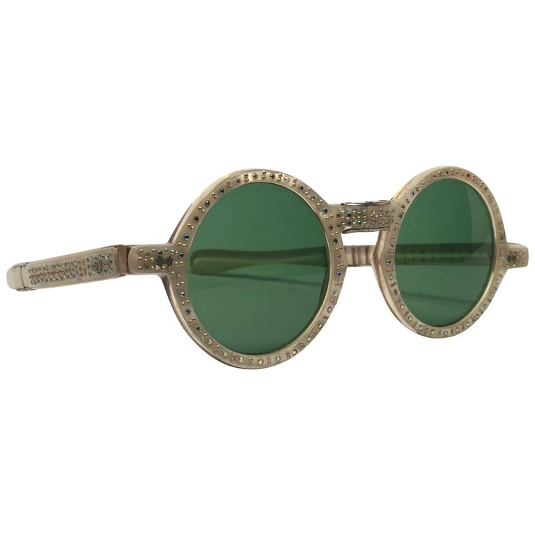 New Vintage Round Rhinestones Mother of Pearl Foldable 1980 France Sunglasses