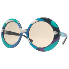 New Vintage Emilio Pucci Multicolour Oversized II Collector Sunglasses France