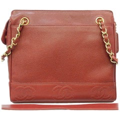 "Chanel Red Caviar Leather ""CC"" Tote Shoulder Bag"