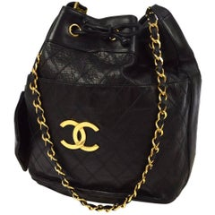 "Chanel Black Quilted Lambskin Gold Toned ""CC"" Drawstring Bucket Shoulder Bag."