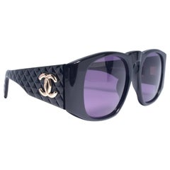 New Vintage Chanel Black Quilted Sides 01450 1988 Sunglasses Made In Italy