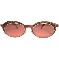 New Vintage Casanova Oval Copper 1980 Sunglasses Made in Italy