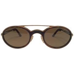 New Vintage Maserati Gold & Tortoise Frame Brown Lenses 1980's Sunglasses
