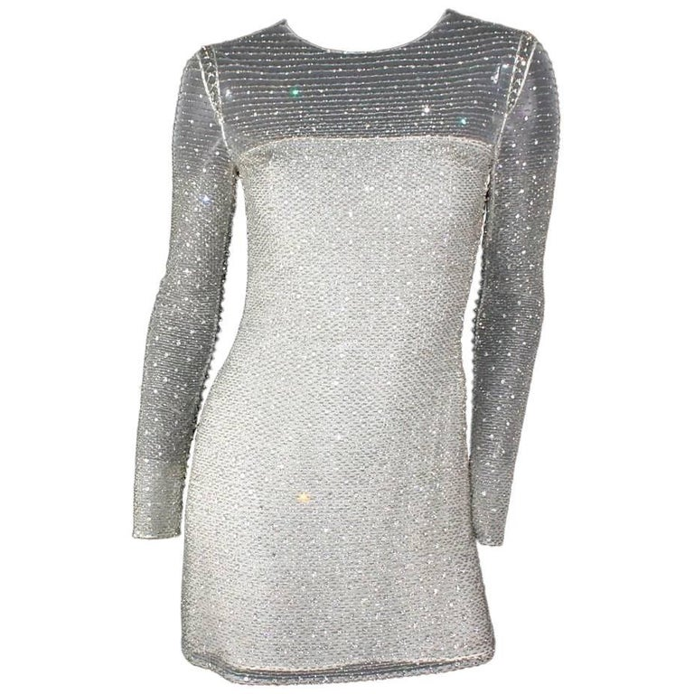 Atelier Versace by Gianni Versace Beaded Mesh Silk Dress, 1990s   For Sale