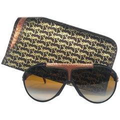 New Vintage Yves Saint Laurent YSL Oversized Leather 1980 France Sunglasses