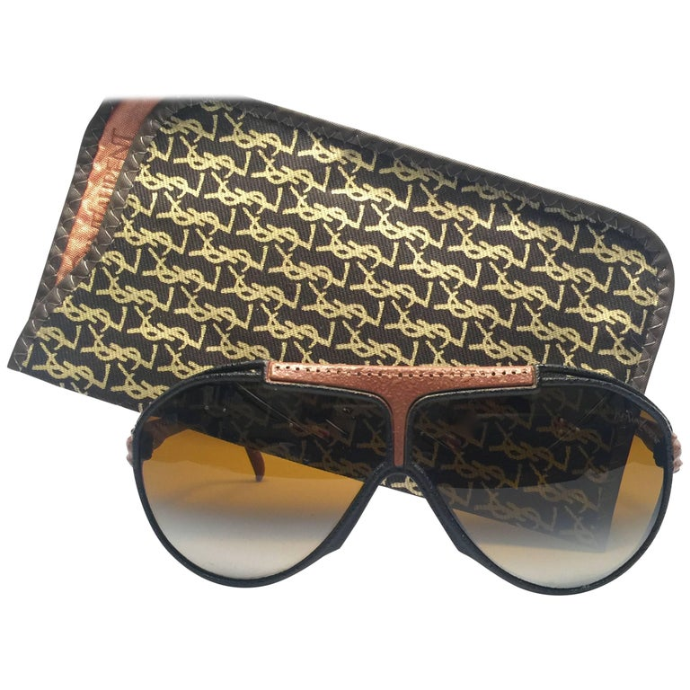 New Vintage Yves Saint Laurent YSL Oversized Leather 1980 France Sunglasses