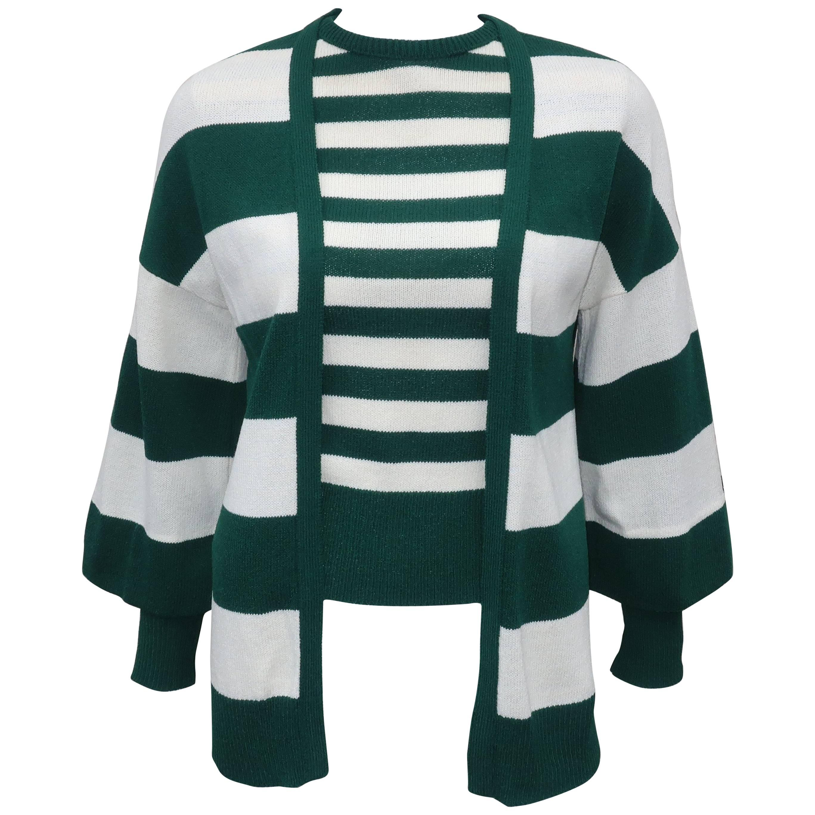 1970's Saks Fifth Avenue Green & White Striped Knit Sweater Set