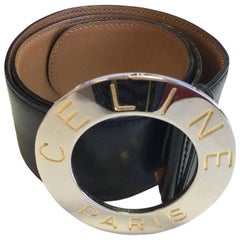 CELINE Belt in Black Leather Size 65EU