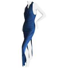 Helmut Lang Vintage Navy Blue Side Slit Jersey Evening Dress