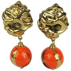 1980s Dominique Aurientis Orange and Gold Hand Painted Earrings, Never worn