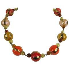 1980s Dominique Aurientis Gripoix Orange Gold Hand Painted Necklace, Never worn