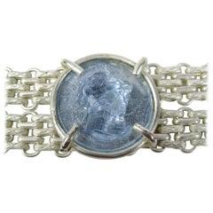1980s Dominique Aurientis Blue gripoix Glass Intaglio Bracelet, Never Worn