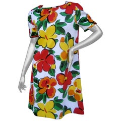Bill Blass Cotton Floral Print Sheath Dress, circa 1990s