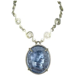 1980s Dominique Aurientis Blue gripoix Intaglio Necklace, Never Worn
