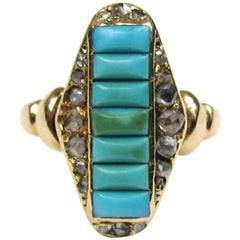 Antique Victorian Turquoise 14K Gold & Diamond Ring