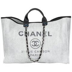 2017 Chanel Grey Canvas & Calfskin Leather Extra Large Deauville Tote