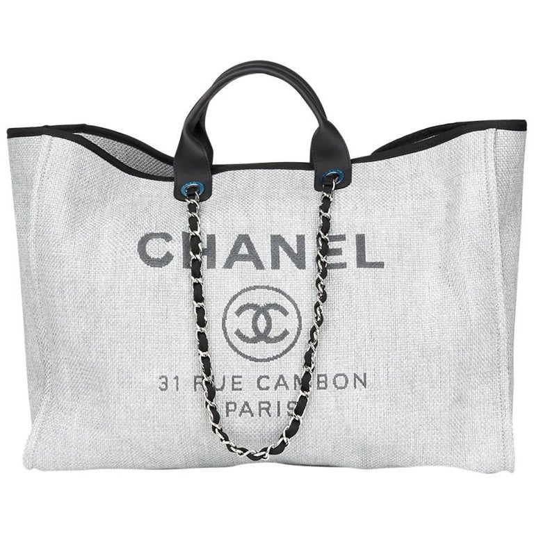 877021b86 2017 Chanel Grey Canvas & Calfskin Leather Extra Large Deauville Tote For  Sale.