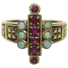 Antique 9CT English Gold Ruby & Opal Ring