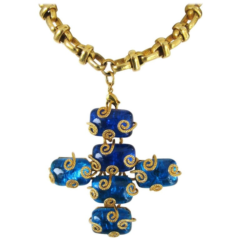 1980s Dominique Aurientis Maltese Cross Gripoix Glass Necklace / Brooch  For Sale