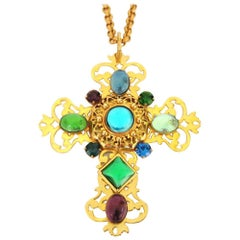 1990s Philippe Ferrandis Necklace Gripoix Glass Cross Necklace, Never Worn