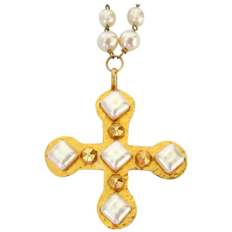 1980s Dominique Aurientis Pearl Studded Maltese Gold Cross Necklace, Never Worn  For Sale