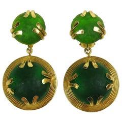 1980s Dominique Aurientis Poured Gripoix Glass Dangle Earrings, Never Worn