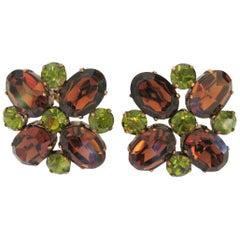 1980s Dominique Aurientis Brown Green Rhinestone Earrings, Never Worn