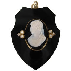 Victorian gold Black Jet Hair locket pendant