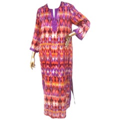 Oscar de la Renta Pastel Print Longe Gown for Neiman Marcus circa 1990s
