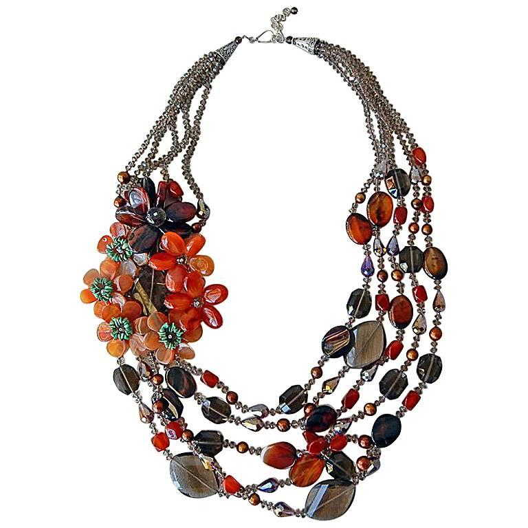 NIB Handcrafted Smoky Quartz and Agate Sterling Silver Floral Necklace For Sale