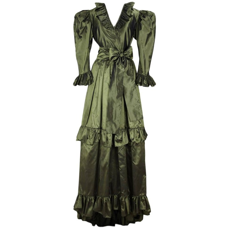 Yves Saint Laurent YSL Green Silk Taffeta Blouse and Skirt Ensemble Gown, 1978