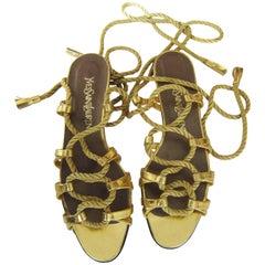 Yves Saint Laurent Golden Rope Tassel Ends Sandal 1970s