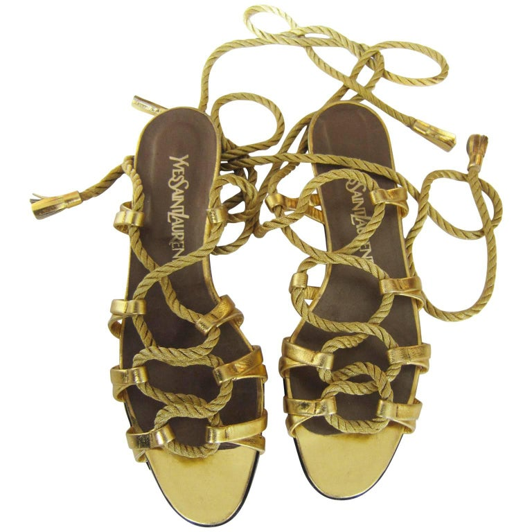 Yves Saint Laurent Golden Rope Tassel Ends Sandal 1970s