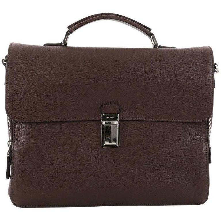 Prada Convertible Flap Briefcase Vitello Daino Medium