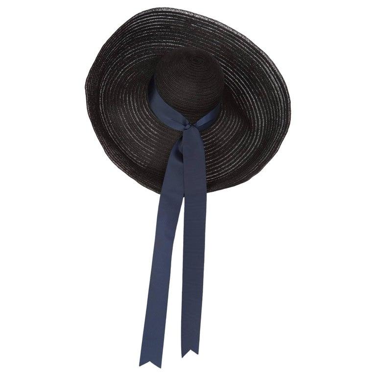 2006 Lanvin Alber Elbaz Black Sun Hat Navy Ribbon Band For Sale