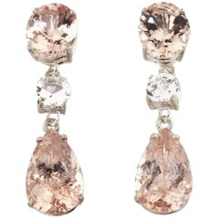 6.8 Carats of Morganite and 2.68 Carats of White Sapphire Silver Stud Earrings