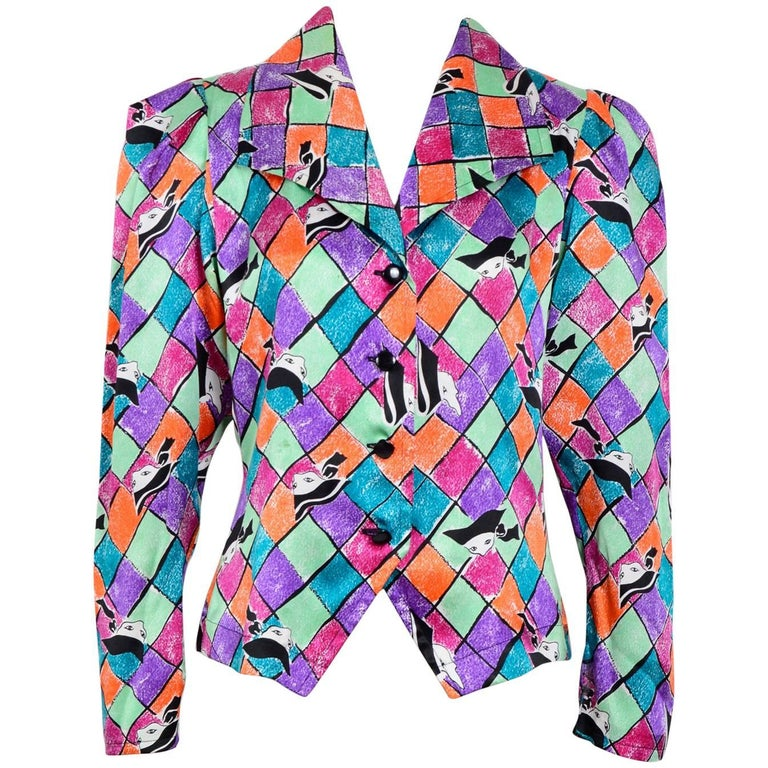 "Yves Saint Laurent silk colorful ""mask and arlequin"" print blouse, 1980"