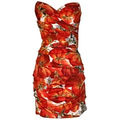New Dolce & Gabbana 2012 Tomato Print Silk Strapless Dress Red & White