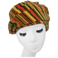 C.1960 Striped Velvet Turban Style Hat