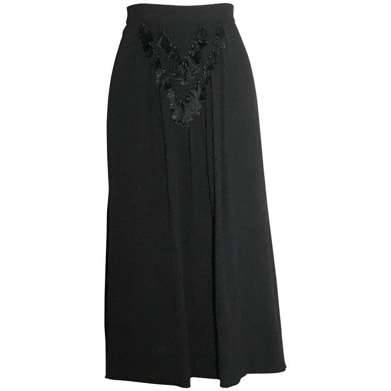 1940s Mainbocher Black Tassel Embellished Mid Length Skirt