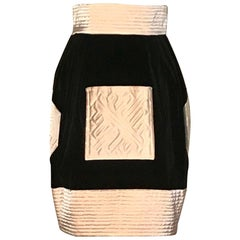 Lanvin Vintage Black Velvet Skirt With Cream Quilted Satin Trim