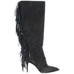 Black Brian Atwood Suede Fringed Boots