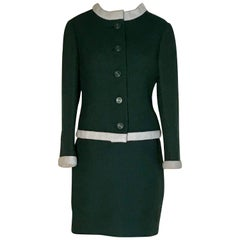 1960s Jacques Heim Jeannes Filles for Bonwit Teller Forest Green Skirt Suit