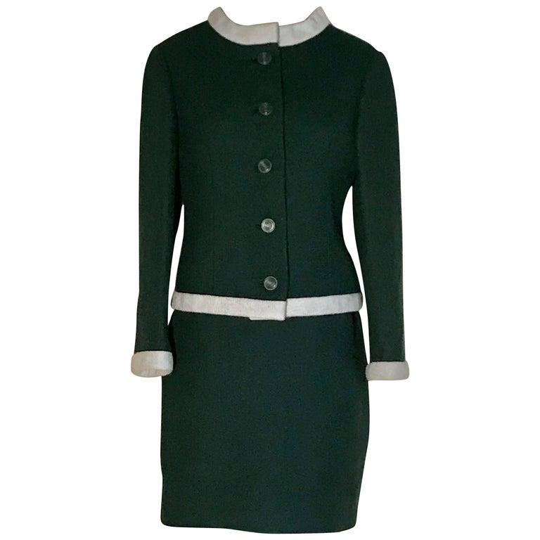 1960s Jacques Heim Jeannes Filles for Bonwit Teller Forest Green Skirt Suit