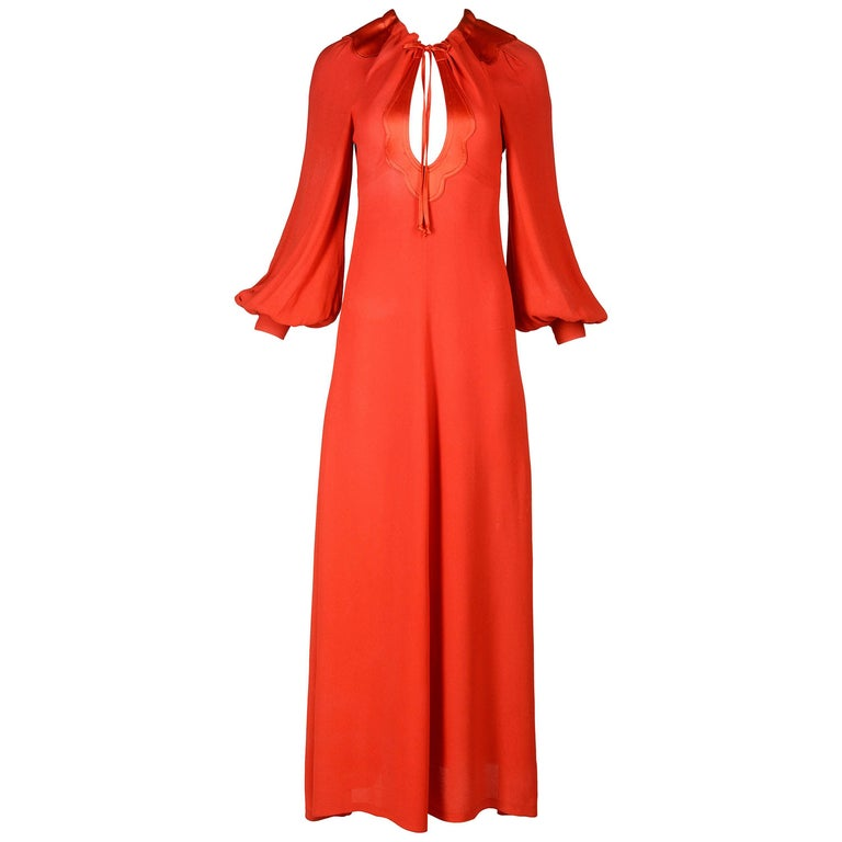 Ossie Clark red moss crepe and satin keyhole maxi dress, c. 1970-1973