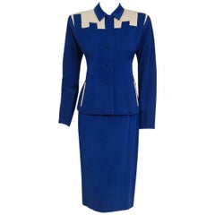 Fred A. Block Blue and Ivory Gabardine Block-Color Deco Jacket Skirt Suit, 1945